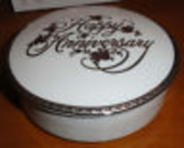 Vtg Mikasa Silver Happy Anniversary Fine China Lidded Candy Dish Bowl & Orig Box - $18.13