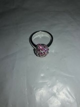 Vintage Signed BEST Crystal/Pink Rhynstones Ring Silver Tone  Accents Sz6 - $11.88