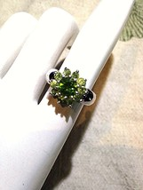 Vintage Genuine Faceted Green Peridot 925 Sterling Silver Deco Cocktail ... - $118.80