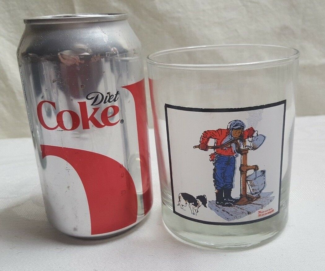 "1979 NORMAN ROCKWELL Arby's Winter 4"" CHILLING CHORE Glass MINT #3 of 4"