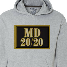 MD 20 20 wine Hoodie retro style distressed print grey graphic sweatshirt image 2