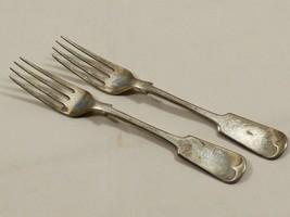Antique ca1879 silver plated 2 dinner forks James Dixon Sheffield Fiddle... - $74.25