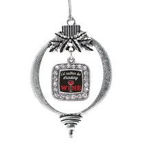 Inspired Silver I'd Rather Be Drinking Wine Classic Holiday Decoration Christmas - $14.69