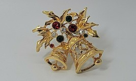 Vintage Signed Avon Gold Tone Christmas Holly Bell Brooch Pin Jewelry Rhinestone - $13.37