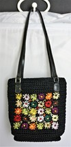 LIZ CLAIBORNE Black Knit Shoulder Bag with Flowers / Daisy's  - $14.12