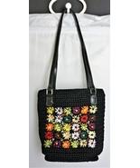 LIZ CLAIBORNE Black Knit Shoulder Bag with Flowers / Daisy's  - $14.12