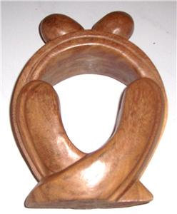 "Original African Hand Carved Sculpture Wood Art Untitled ""The Love Union"""