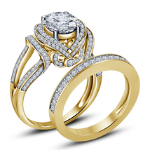Lab Diamond Wedding Womens Bridal Designer Ring Set 14k Gold Finish 925 ... - $91.99