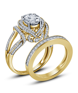 Lab Diamond Wedding Womens Bridal Designer Ring Set 14k Gold Finish 925 ... - $91.99