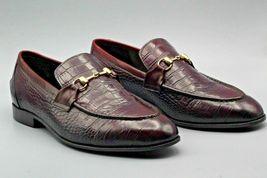Handmade  Men's Maroon Crocodile Slip Ons Loafer Dress/Formal Shoes image 1