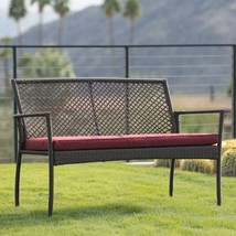 Brown Resin Wicker Outdoor Garden Bench With Burgundy Red Cushion Patio Seating image 2