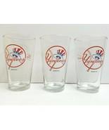 3 Yankees Budweiser Light Pint Glass 2011 MLB Baseball Beer Soda Barware... - $24.62
