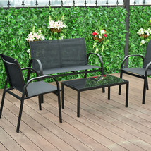 4 pcs Patio Furniture Set with Glass Top Coffee Table-Black - £162.64 GBP