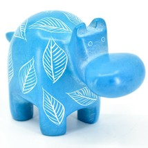 Vaneal Group Hand Crafted Carved Soapstone Light Blue Hippopotamus Hippo Figure image 1