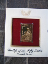 Canada Goose Wildlife 50 States replica 22 kt Gold Stamp FDI FDC Golden ... - $5.19