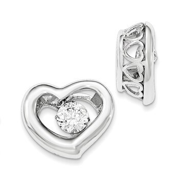 Primary image for Lex & Lu Sterling Silver Polished Dancing CZ Heart Pendant
