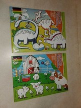 kids Sparkle glitter Art 4 pack posters w/ 4 markers Dinosaurs unicorn c... - $19.99