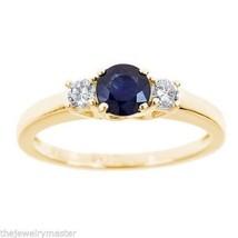 SAPPHIRE & DIAMOND ENGAGEMENT RING 3-STONE BRILLIANT ROUND CUT 14KT ... - £769.30 GBP