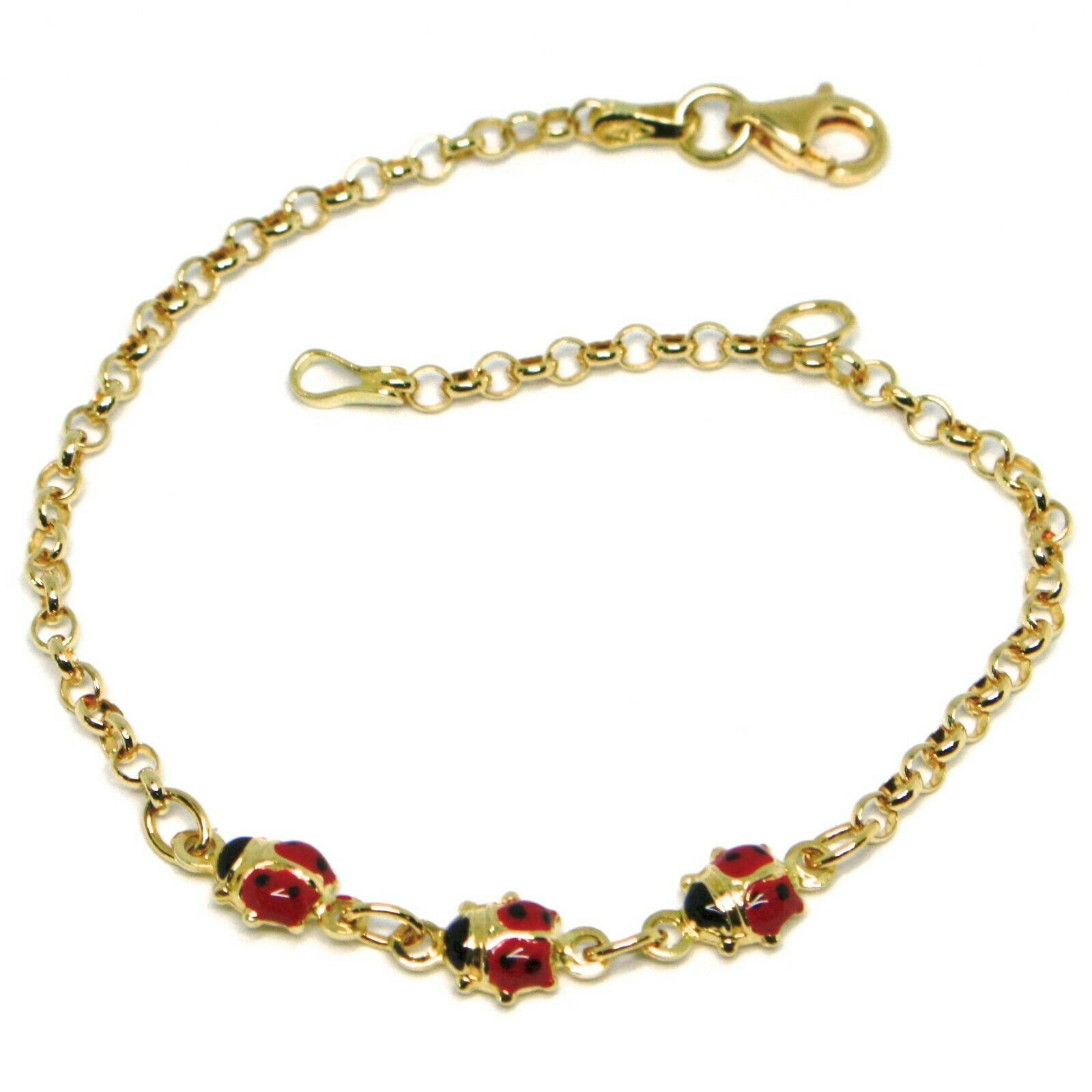 Bracelet Yellow Gold 18K 750, Girls, Three Ladybirds Enamel 16.5 CM