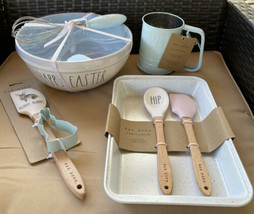 Rae Dunn Blue Easter Mixing Bowl / Whisk Spatula BUNNY Cutter Flour Sift... - $69.99