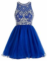 Royal Blue Tulle Scoop A Line Homecoming Dress with Rhinestones Short Prom Dress - $139.00