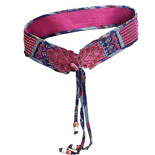 [Impression] Vintage Women Corset Belt Embroidery Waist Belt Tassel Tied,28.7''