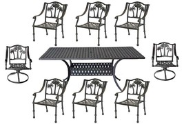 Patio dining set 8 person Palm Tree chairs with Nassau rectangular table. image 1