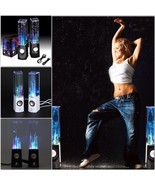 Pair Water Dance Computer Stereo Colorful LED Spring Subwoofer USB Speak... - $39.99