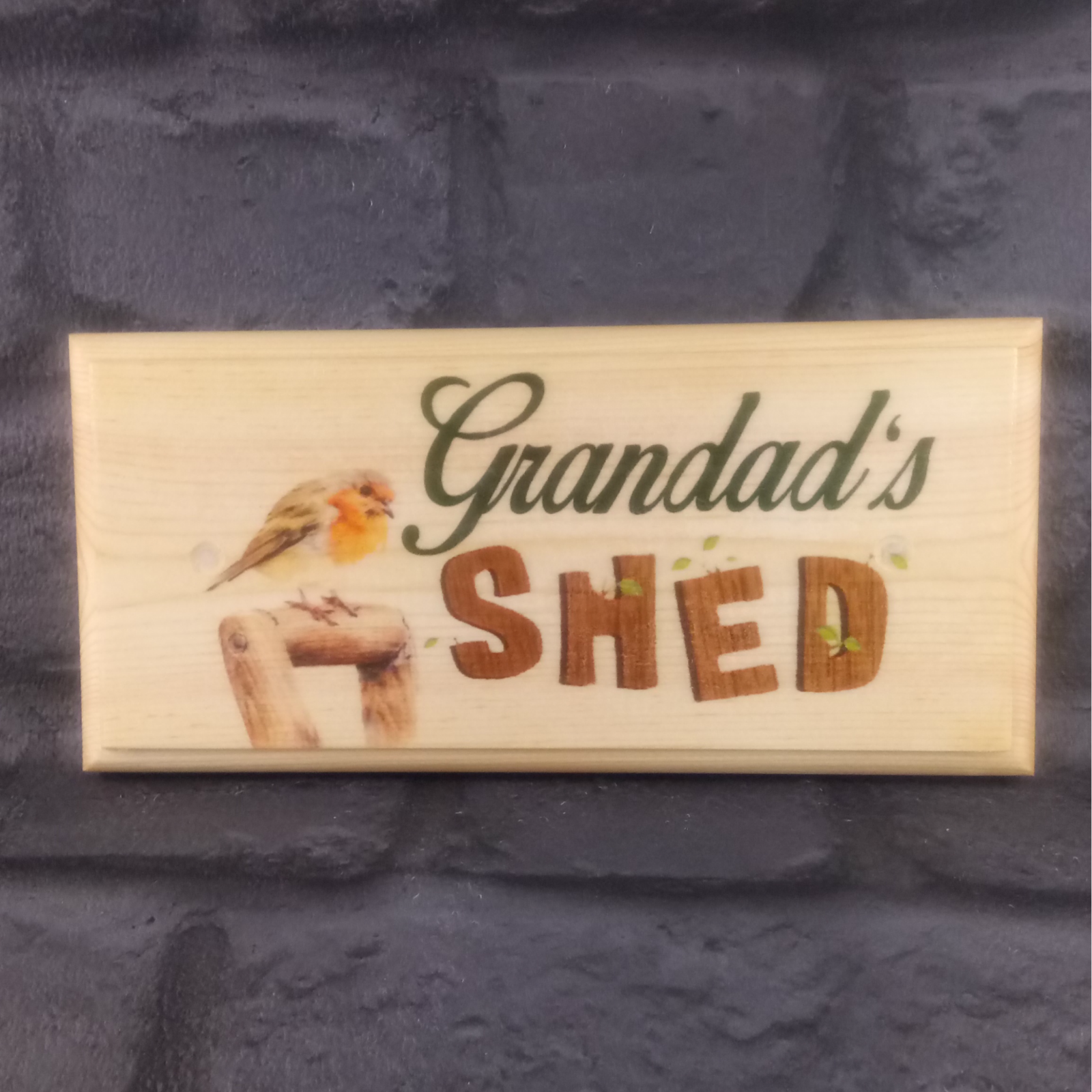 Primary image for Grandads Shed Sign, Robin Garden Plaque Workshop Allotment Dad Gramps Gift 360