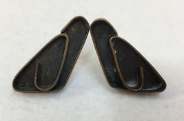 Earrings Screw Back Copper Metal Pair Vintage Triangle Loop Swirl Abstra... - $10.88