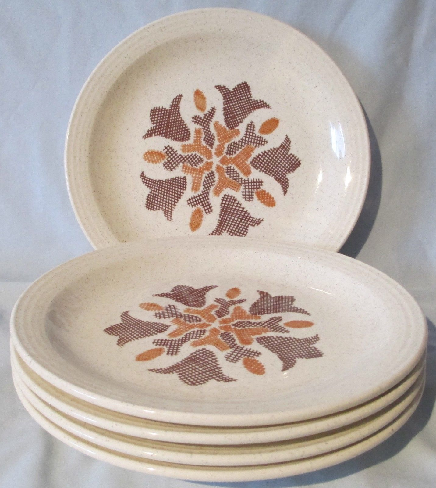 Homer Laughlin HLC2328 Speckled Tan Floral Dinner Plate set of 5