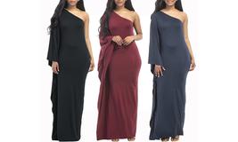 Women's Plus Size One Shoulder Evening Cocktail Maxi Dress - $24.99