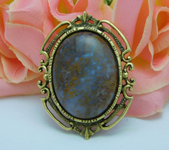 Vintage Agate Pendant Brooch Oval Cabochon Pin 44.8 gr. Hungarian Moss? ... - $84.95