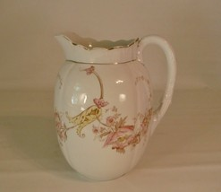 Large Antique Victorian Laughlin Eagle Over Lion Floral Melon Blossom Pitcher - $93.49