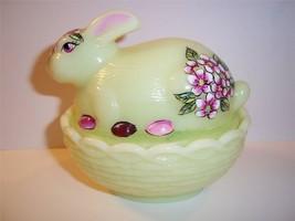 Mosser Glass Yellow Bunny Box Candy Dish By Frmr Fenton Artist Sunday Davis Ooak - $57.31