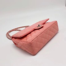 AUTHENTIC Chanel PINK PATENT QUILTED LEATHER MEDIUM Classic Double Flap Bag SHW image 4