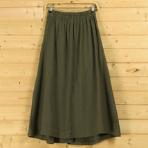 Women A Line Linen Skirt Ankle Length Linen Cotton Casual Skirt,Army Green Navy  image 8
