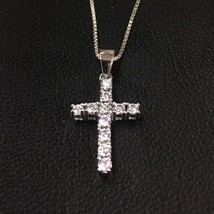 New 14K Gold Layer On Solid Silver Swarovski Cross Charm Pendant Free Ch... - $26.18