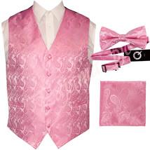 Light Pink XS to 6XL Paisley Tuxedo Suit Dress Vest Waistcoat & Bow tie Hanky - $23.74+