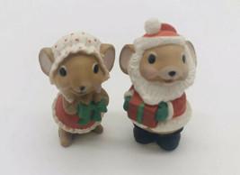 Vintage 1986 Hallmark Merry Miniatures Santa & Mrs Santa Mice Mouse Chri... - $15.88