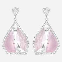 Authentic Swarovski Allure Crystal and Pink Quartz Gemstone Drop Earrings - $139.32