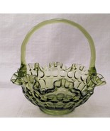 "Vintage Unmarked Fenton Colonial Green Thumbprint Ruffled Edge Basket 8""... - $8.90"