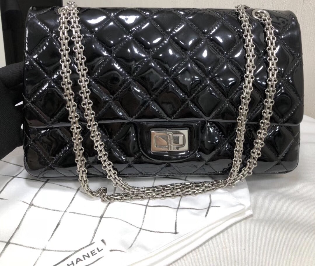 AUTHENTIC CHANEL REISSUE 227 BLACK PATENT LEATHER JUMBO CLASSIC FLAP BAG SHW