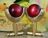 Vintage Cufflinks Gold Textured Cherry Red Moonglow Lucite Ball Toggle