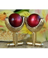 Vintage Cufflinks Gold Textured Cherry Red Moonglow Lucite Ball Toggle - $17.95