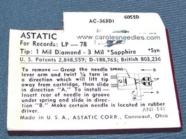 Astatic N62sd RECORD PLAYER NEEDLE for Zenith X-512C Zenith X-510F Zenith X-510J image 2
