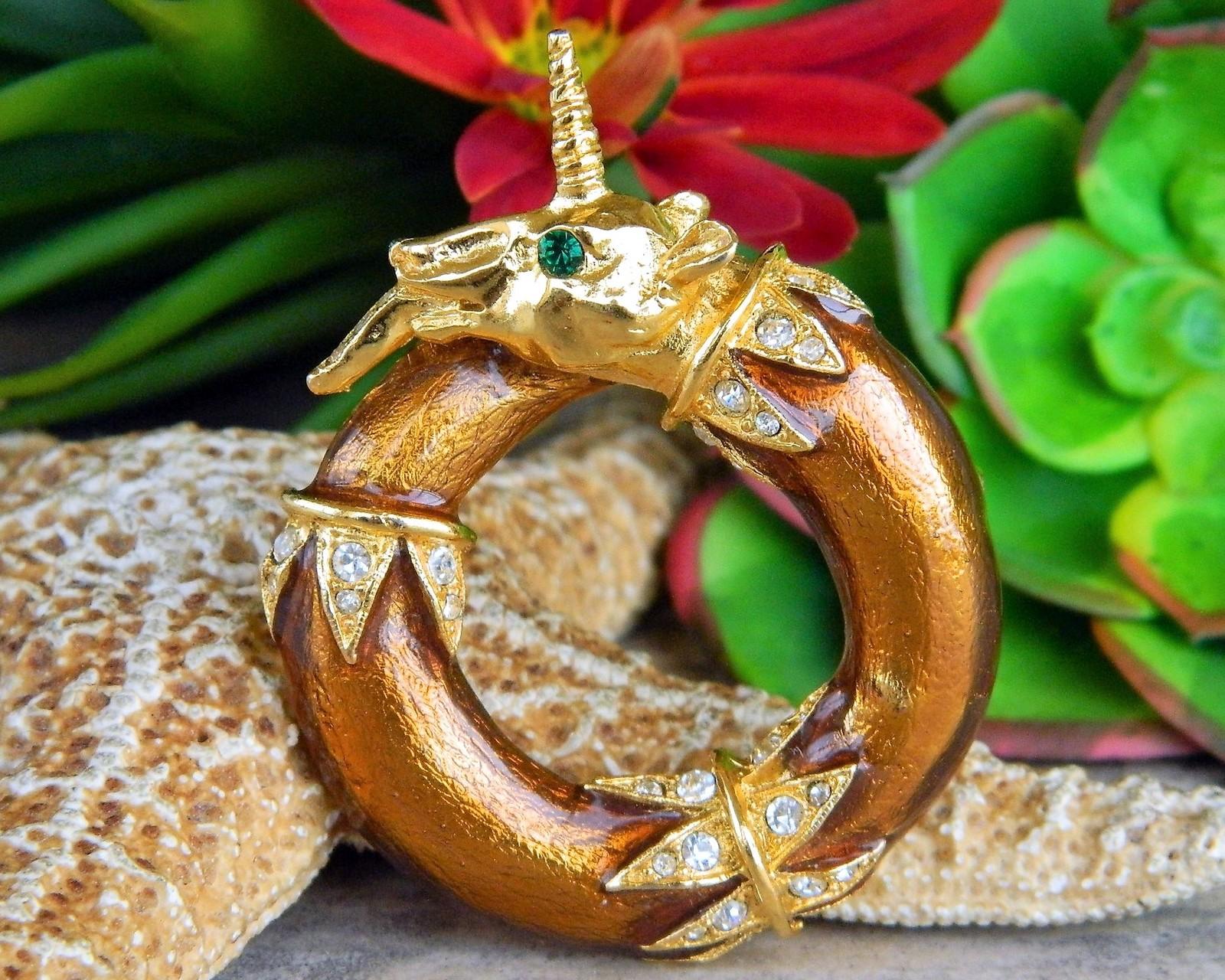 Vintage Unicorn Alexis Kirk Brooch Pin Pendant Enamel Rhinestones