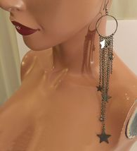 VTG 90s Silvertone Metal Long Dangling Chains and Stars Loop Pierced Ear... - $7.99