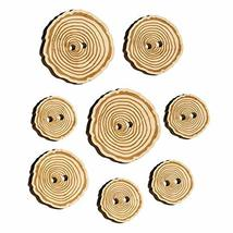 Hand Drawn Tree Rings Doodle Wood Buttons for Sewing Knitting Crochet DIY Craft  - $9.99
