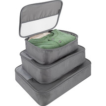 NEW TRAVELON SET OF 3 LUGGAGE PACKING CUBES SMALL MEDIUM LARGE GREY - $24.70